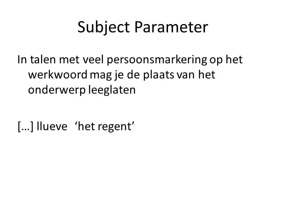 Subject Parameter In talen met veel persoonsmarkering op het werkwoord mag je de plaats van het onderwerp leeglaten […] llueve 'het regent'